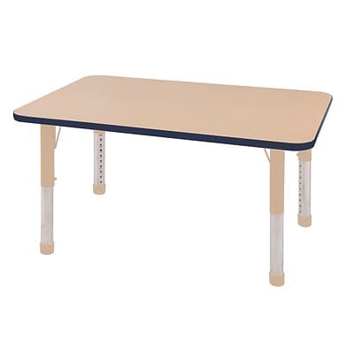 ECR4Kids Thermo-Fused Adjustable 48L x 30W Rectangle Laminate Activity Table Maple/Navy/Sand (ELR-14210-MPNVSDCH)