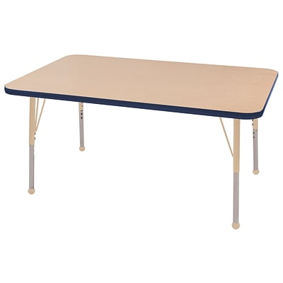 ECR4Kids Thermo-Fused Adjustable 48L x 30W Rectangle Laminate Activity Table Maple/Navy/Sand (ELR-14210-MPNVSDSB)