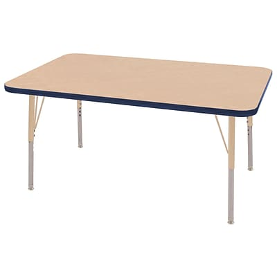ECR4Kids T-Mold Adjustable 48L x 30W Rectangle Laminate Activity Table Maple/Navy/Sand (ELR-14110-MNVSD-SS)