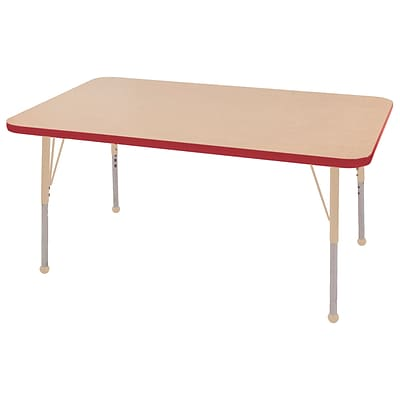 ECR4Kids Thermo-Fused Adjustable 48L x 30W Rectangle Laminate Activity Table Maple/Red/Sand (ELR-14210-MPRDSDSB)