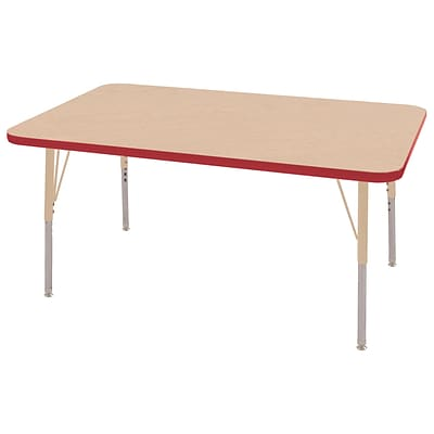 ECR4Kids Thermo-Fused Adjustable 48L x 30W Rectangle Laminate Activity Table Maple/Red/Sand (ELR-14210-MPRDSDTS)