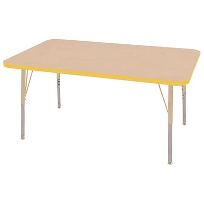 ECR4Kids T-Mold Adjustable 48L x 30W Rectangle Laminate Activity Table Maple/Yellow/Sand (ELR-14110-MYESD-TS)
