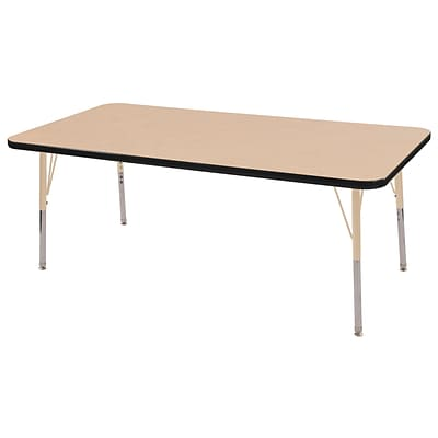 ECR4Kids Thermo-Fused Adjustable 60L x 30W Rectangle Laminate Activity Table Maple/Black/Sand (ELR-14211-MPBKSDTS)