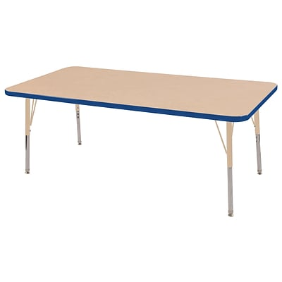 ECR4Kids Thermo-Fused Adjustable 60L x 30W Rectangle Laminate Activity Table Maple/Blue/Sand (ELR-14211-MPBLSDTS)