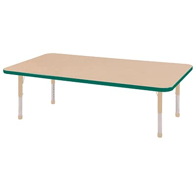 ECR4Kids Thermo-Fused Adjustable 60L x 30W Rectangle Laminate Activity Table Maple/Green/Sand (ELR-14211-MPGNSDCH)