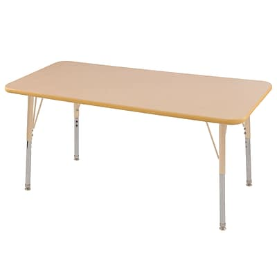 ECR4Kids Thermo-Fused Adjustable 60L x 30W Rectangle Laminate Activity Table Maple/Maple/Sand (ELR-14211-MPMPSDSS)