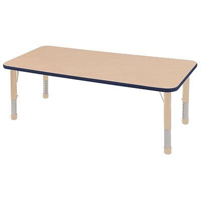 ECR4Kids Thermo-Fused Adjustable 60L x 30W Rectangle Laminate Activity Table Maple/Navy/Sand (ELR-14211-MPNVSDCH)