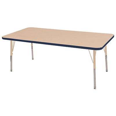 ECR4Kids Thermo-Fused Adjustable 60L x 30W Rectangle Laminate Activity Table Maple/Navy/Sand (ELR-14211-MPNVSDSS)