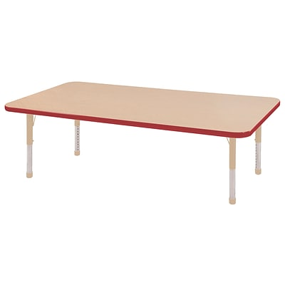 ECR4Kids Thermo-Fused Adjustable 60L x 30W Rectangle Laminate Activity Table Maple/Red/Sand (ELR-14211-MPRDSDCH)