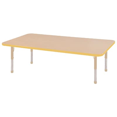 ECR4Kids Thermo-Fused Adjustable 60L x 30W Rectangle Laminate Activity Table Maple/Yellow/Sand (ELR-14211-MPYESDCH)