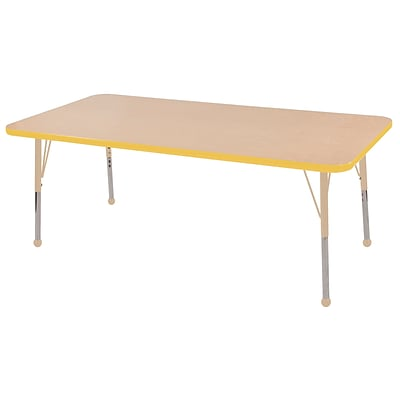 ECR4Kids Thermo-Fused Adjustable 60L x 30W Rectangle Laminate Activity Table Maple/Yellow/Sand (ELR-14211-MPYESDTB)