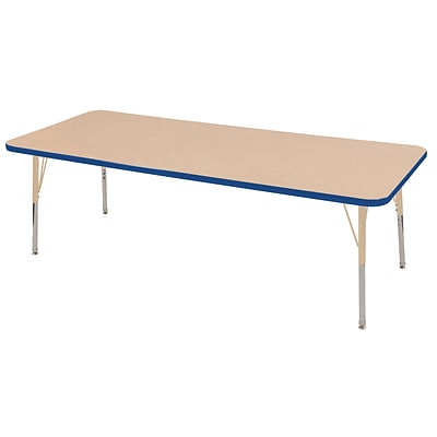 ECR4Kids T-Mold Adjustable 72L x 30W Rectangle Laminate Activity Table Maple/Blue/Sand (ELR-14112-MBLSD-TS)
