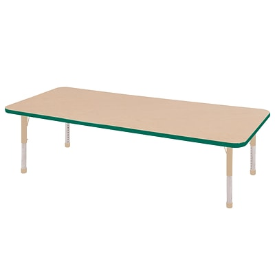 ECR4Kids Thermo-Fused Adjustable 72L x 30W Rectangle Laminate Activity Table Maple/Green/Sand (ELR-14212-MPGNSDCH)