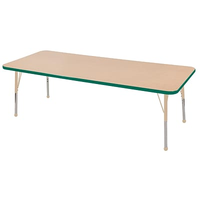 ECR4Kids T-Mold Adjustable 72L x 30W Rectangle Laminate Activity Table Maple/Green/Sand (ELR-14112-MGNSD-SB)