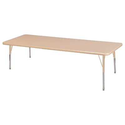 ECR4Kids Thermo-Fused Adjustable 72L x 30W Rectangle Laminate Activity Table Maple/Maple/Sand (ELR-14212-MPMPSDTS)
