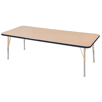 ECR4Kids T-Mold Adjustable 72L x 30W Rectangle Laminate Activity Table Maple/Navy/Sand (ELR-14112-MNVSD-TB)