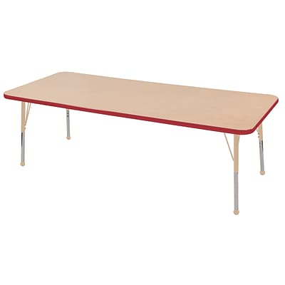 ECR4Kids T-Mold Adjustable 72L x 30W Rectangle Laminate Activity Table Maple/Red/Sand (ELR-14112-MRDSD-SB)