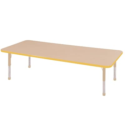 ECR4Kids Thermo-Fused Adjustable 72L x 30W Rectangle Laminate Activity Table Maple/Yellow/Sand (ELR-14212-MPYESDCH)