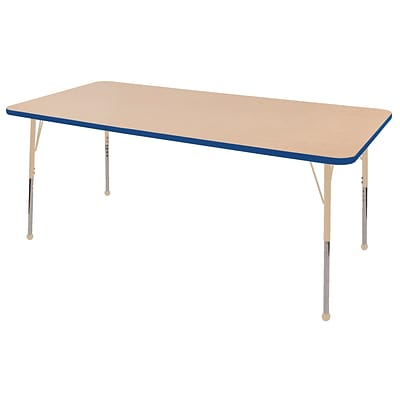 ECR4Kids T-Mold Adjustable 72L x 36W Rectangle Laminate Activity Table Maple/Blue/Sand (ELR-14113-MBLSD-TB)