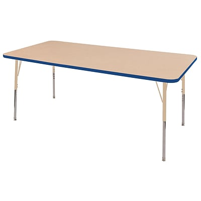 ECR4Kids T-Mold Adjustable 72L x 36W Rectangle Laminate Activity Table Maple/Blue/Sand (ELR-14113-MBLSD-TS)