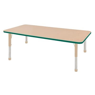 ECR4Kids T-Mold Adjustable 72L x 36W Rectangle Laminate Activity Table Maple/Green/Sand (ELR-14113-MGNSD-C)