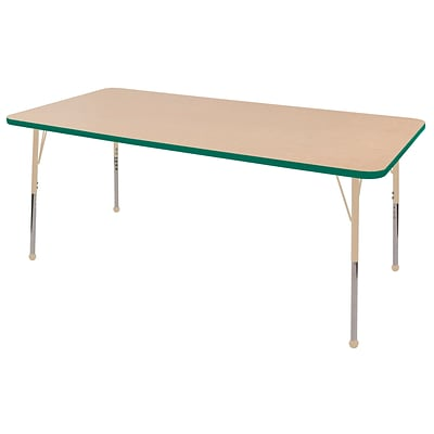ECR4Kids Thermo-Fused Adjustable 72L x 36W Rectangle Laminate Activity Table Maple/Green/Sand (ELR-14213-MPGNSDSB)