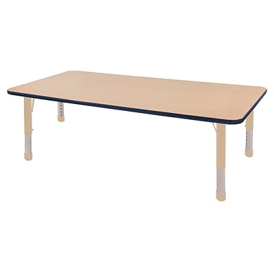 ECR4Kids Thermo-Fused Adjustable 72L x 36W Rectangle Laminate Activity Table Maple/Navy/Sand (ELR-14213-MPNVSDCH)