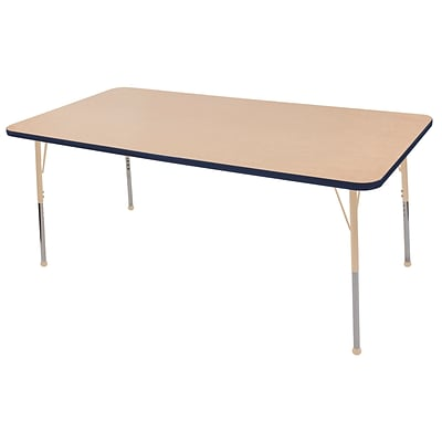 ECR4Kids Thermo-Fused Adjustable 72L x 36W Rectangle Laminate Activity Table Maple/Navy/Sand (ELR-14213-MPNVSDSB)