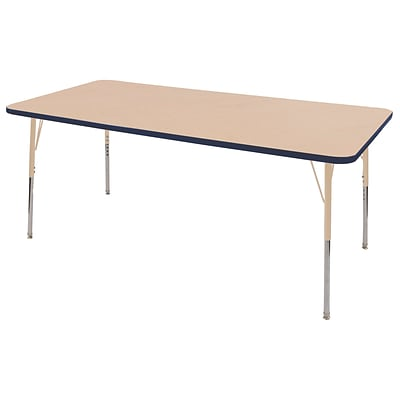 ECR4Kids T-Mold Adjustable 72L x 36W Rectangle Laminate Activity Table Maple/Navy/Sand (ELR-14113-MNVSD-TS)
