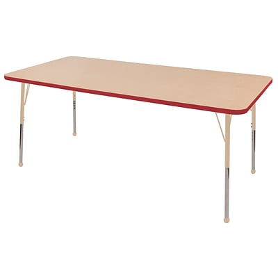 ECR4Kids T-Mold Adjustable 72L x 36W Rectangle Laminate Activity Table Maple/Red/Sand (ELR-14113-MRDSD-SB)