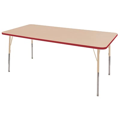ECR4Kids T-Mold Adjustable 72L x 36W Rectangle Laminate Activity Table Maple/Red/Sand (ELR-14113-MRDSD-TS)