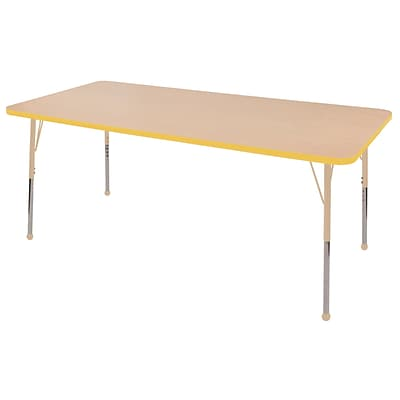 ECR4Kids Thermo-Fused Adjustable 72L x 36W Rectangle Laminate Activity Table Maple/Yellow/Sand (ELR-14213-MPYESDTB)