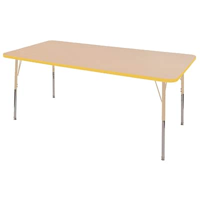 ECR4Kids Thermo-Fused Adjustable 72L x 36W Rectangle Laminate Activity Table Maple/Yellow/Sand (ELR-14213-MPYESDTS)