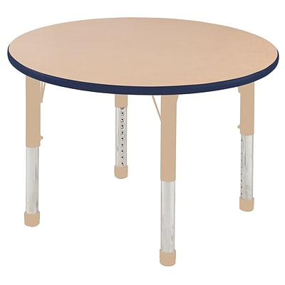 ECR4Kids T-Mold Adjustable 36 Round Laminate Activity Table Maple/Navy/Sand (ELR-14114-MNVSD-C)