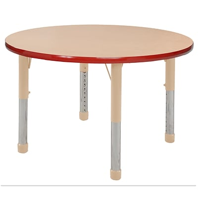 ECR4Kids T-Mold Adjustable 36 Round Laminate Activity Table Maple/Red/Sand (ELR-14114-MRDSD-C)