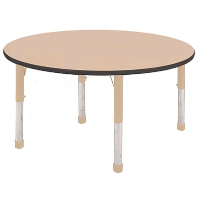 ECR4Kids Thermo-Fused Adjustable 48 Round Laminate Activity Table Maple/Black/Sand (ELR-14215-MPBKSDCH)