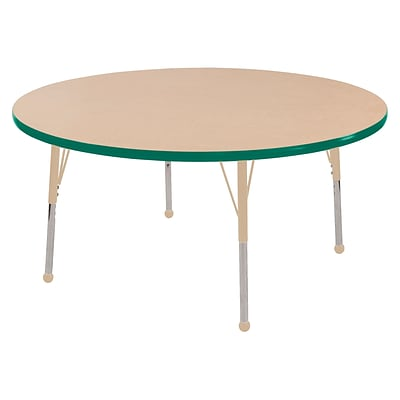 ECR4Kids T-Mold Adjustable Ball 48 Round Laminate Activity Table Maple/Green/Sand (ELR-14115-MGNSD-SB)