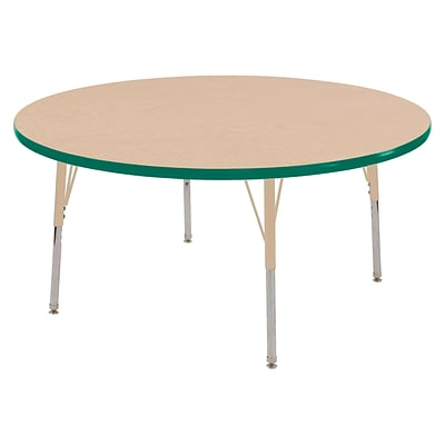 ECR4Kids T-Mold Adjustable Swivel 48 Round Laminate Activity Table Maple/Green/Sand (ELR-14115-MGNSD-SS)