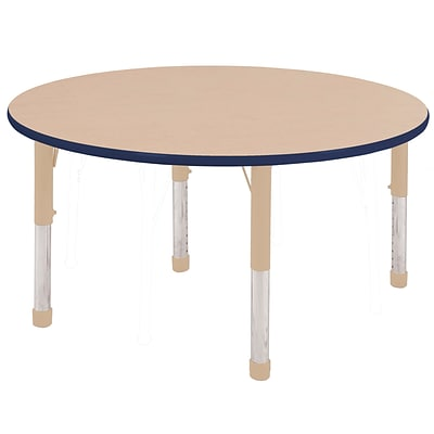 ECR4Kids Thermo-Fused Adjustable 48 Round Laminate Activity Table Maple/Navy/Sand (ELR-14215-MPNVSDCH)
