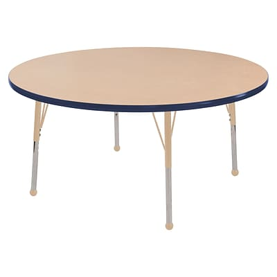 ECR4Kids T-Mold Adjustable Ball 48 Round Laminate Activity Table Maple/Navy/Sand (ELR-14115-MNVSD-SB)
