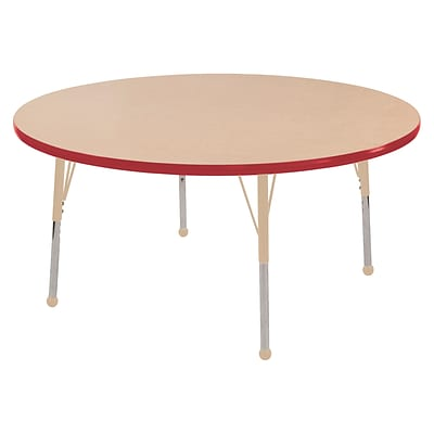 ECR4Kids T-Mold Adjustable Ball 48 Round Laminate Activity Table Maple/Red/Sand (ELR-14115-MRDSD-SB)