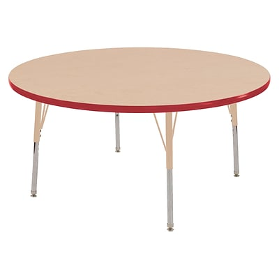 ECR4Kids T-Mold Adjustable Swivel 48 Round Activity Table Maple/Red/Sand (ELR-14115-MRDSD-TS)