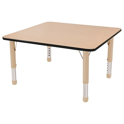 ECR4Kids Thermo-Fused Adjustable 30 Square Laminate Activity Table Maple/Black/Sand (ELR-14216-MPBKSDCH)