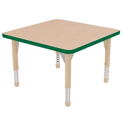 ECR4Kids Thermo-Fused Adjustable 30 Square Laminate Activity Table Maple/Green/Sand (ELR-14216-MPGNSDCH)