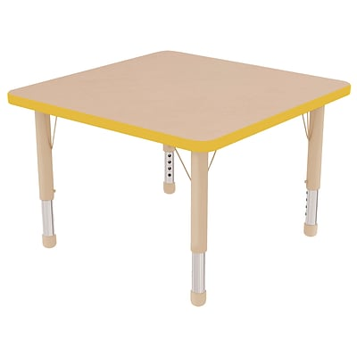 ECR4Kids Thermo-Fused Adjustable 30 Square Laminate Activity Table Maple/Yellow/Sand (ELR-14216-MPYESDCH)