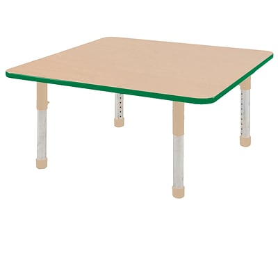ECR4Kids Thermo-Fused Adjustable 48 Square Laminate Activity Table Maple/Green/Sand (ELR-14217-MPGNSDCH)