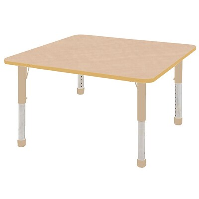 ECR4Kids Thermo-Fused Adjustable 48 Square Laminate Activity Table Maple/Maple/Sand (ELR-14217-MPMPSDCH)