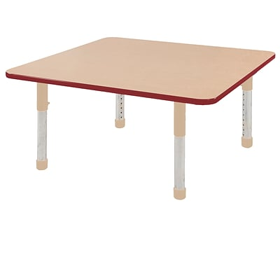 ECR4Kids Thermo-Fused Adjustable 48 Square Laminate Activity Table Maple/Red/Sand (ELR-14217-MPRDSDCH)