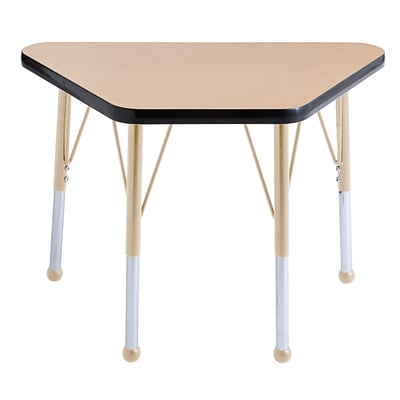 ECR4Kids Thermo-Fused Adjustable 30L x 18W Trapezoid Laminate Activity Table Maple/Black/Sand (ELR-14218-MPBKSDTB)