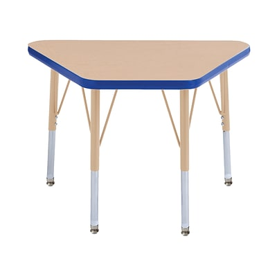 ECR4Kids T-Mold Adjustable 30L x 18W Trapezoid Laminate Activity Table Maple/Blue/Sand (ELR-14118-MBLSD-SS)
